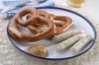 Bavarian sausages with pretzels
