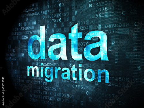 Information concept: Data Migration on digital background