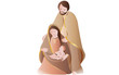 Nativity scene on white background