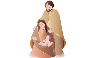 Nativity scene on white background