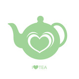 Teapot with heart vector on isolated white background