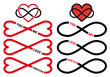 never ending love, red infinity hearts, vector set