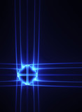 Blue neon cross on a black background