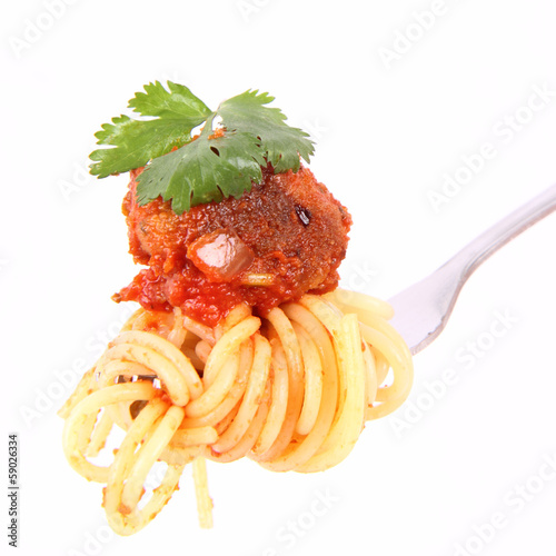 Spaghetti with meat ball on a fork