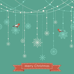 Christmas background with birds, garlands and snowflakes