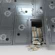Bank safe full of dollars