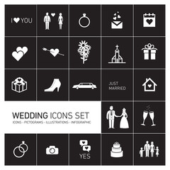 vector wedding icon set white on black background