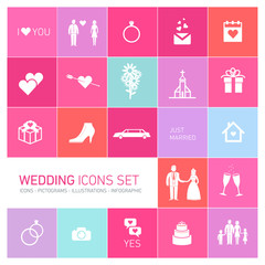 vector wedding icon set on colorful background