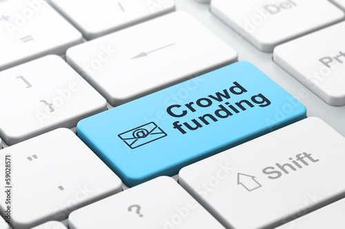 Business finance concept: Email and Crowd Funding on keyboard
