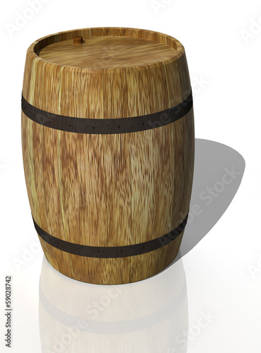 Wooden oak barrel. 3D render
