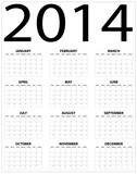 Basic 2014 calendar on black and white