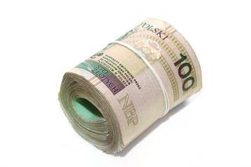 rollled polish banknotes