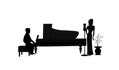 female singer with piano player in silhouette