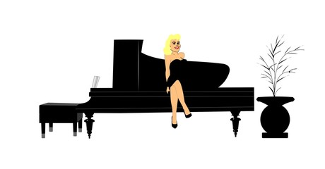 blonde lady sitting on piano