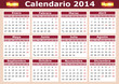 horizontal Spanish Calendar 2014