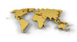 World map 3D gold with clipping path