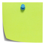 Green square sticky note, with a blue pin, isolated with shadow