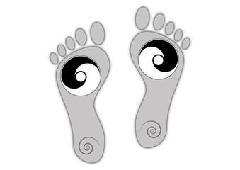 Fuß-Abdruck mit Yin und Yang Symbol