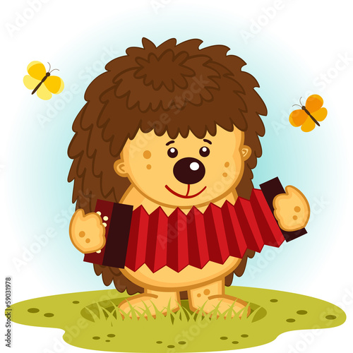 hedgehog with accordion - vector  illustration