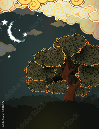 Cartoon landscape. Tree clouds and moon.
