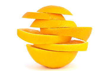 Slices of orange isolated on white background.