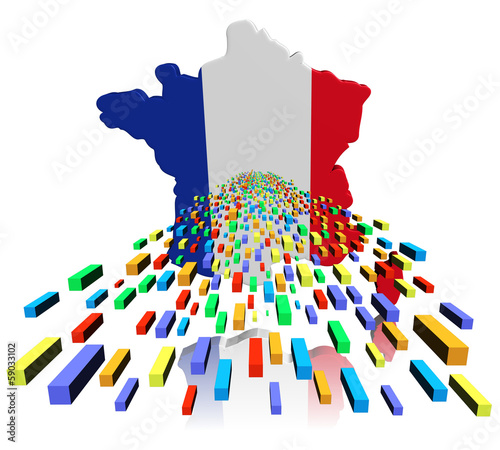 France map flag reflected with containers illustration