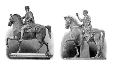 Ancient Rome : Emperors/Heroes - 2 Equestrian Statues