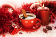 Red Christmas tea cup