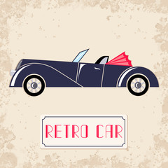 Vintage style vector illustration with dark blue retro car