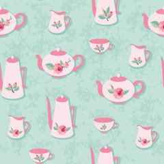 Retro seamless pattern with rose decorated tea set
