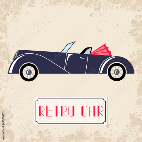 Vintage style vector illustration with dark blue retro car