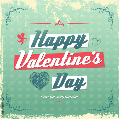 Retro vintage Valentine's day greeting card design
