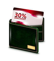 discount card in wallet over white background