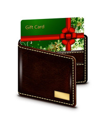 gift card in wallet over white background