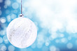 Silver Christmas Ball Ornament Over Elegant Grunge blue