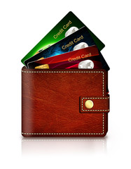 credit cards in wallet over white background