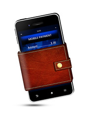 wallet and mobile phone with mobile payment screen