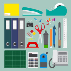Office stationery set with simple style.