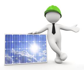 omino bianco ingeniere con pannello solare