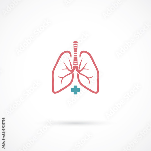 Lungs symbol, clinic label