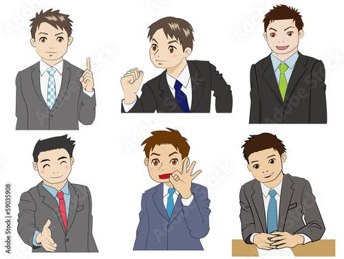 スーツの男性六人