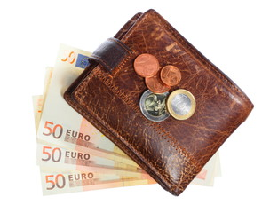 Economy and finance. Wallet with euro banknote isolated