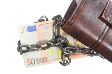 End of personal spending.  Purse euro banknote in chain