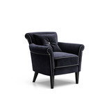 Isolated dark blue velvet luxury armchair