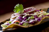 Seared ahi (yellowfin) tuna with ginger coleslaw tostada. poster