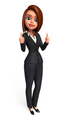 Young business woman with thumbs up