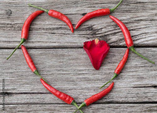 Heart made of Chili Pepper with rose-petal inside