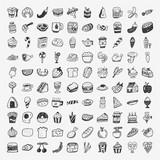 Fototapety doodle food icons set