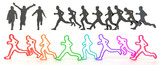 Sets of rough sketch silhouette and colorful running people in 3