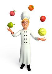 Chef juggling vegetable